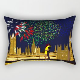Lovers Rise on New Years Eve London Rectangular Pillow