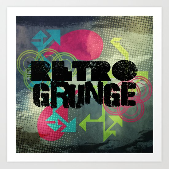 Abstract373 Retro Grunge Art Print