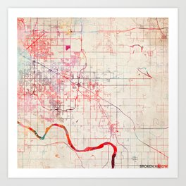 Broken Arrow map Oklahoma painting 1 Art Print