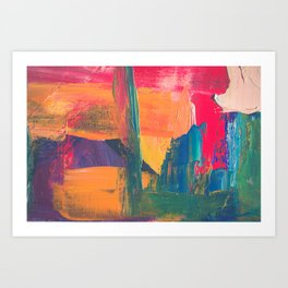 Abstract Art Colorful Vibrant Strong Brush Strokes Art Print