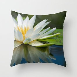 Sunflower and Water Lilies Throw Pillow