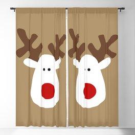 Christmas Reindeer-Brown Blackout Curtain