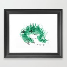 Green Dragon Sleeping Framed Art Print