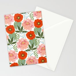 Pions and Poppies Stationery Cards