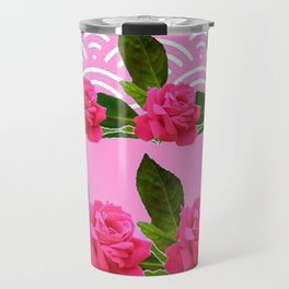 CERISE PINK GARDEN ROSES PATTERN ABSTRACT ART Travel Mug