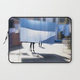 Blue bedsheet on the city street Laptop Sleeve