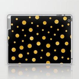 Elegant polka dots - Black Gold Laptop & iPad Skin