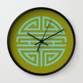 Shou Longevity In Green And Turquoise Wall Clock