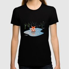Little Fox On Ice Womens Fitted Tee Black MEDIUM