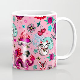 Lucky Cat Maneki Neko , Dragons and Koi fish On Pink Coffee Mug