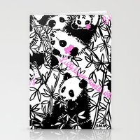 pandas Stationery Cards featuring Pandas by beach please
