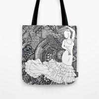 spanish Tote Bags featuring spanish dancer by ZINAVARTA