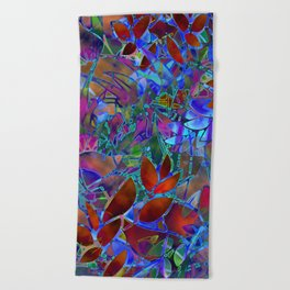 Floral Abstract Stained Glass G174 Beach Towel