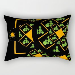 Orange and Green Spaces 105 Rectangular Pillow