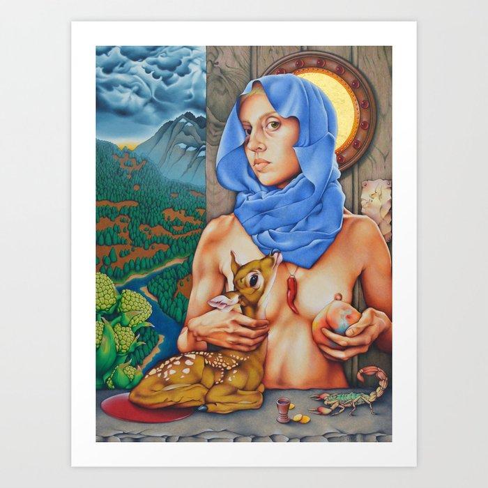 Woman Hero (Self Portrait as the Virgin and Child) Art Print
