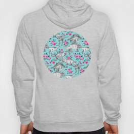 Dinosaurs and Roses - turquoise blue Hoody