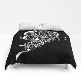 White on Black Butterfly Tattoo Lineart Comforters