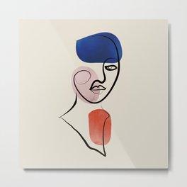 Minimalistic line art female face no2 Metal Print