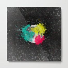 Moon + Neon Metal Print