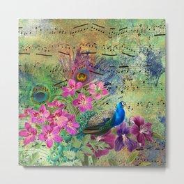 Elegant Peacock Image and Musical Notes Metal Print