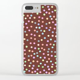chocolate Glaze with sprinkles. Brown abstract background Clear iPhone Case