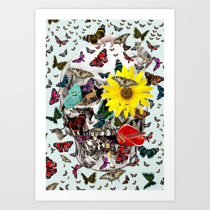 Skull Flowers Animals on MINT | Butterflies Art Print