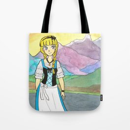 Dirndl Girl with Alps Tote Bag
