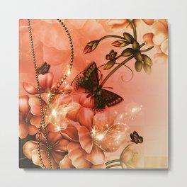 Wonderful flowers with butterflies Metal Print