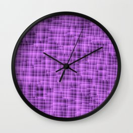 Square pastel curved stripes with interweaving of the bark of a violet tree trunk. Wall Clock