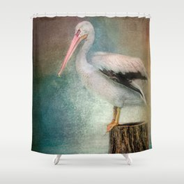 Perched Pelican Shower Curtain