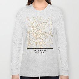 WARSAW POLAND CITY STREET MAP ART Long Sleeve T-shirt