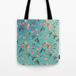 Vintage Watercolor hummingbirds and fuchsia flowers Tote Bag