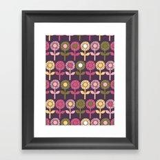 Lino Cut Flower Framed Art Print