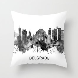 Belgrade Serbia Skyline BW Throw Pillow