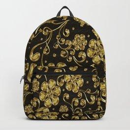 Gold Metallic Floral on Black Backpack