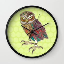 little brother owl chartreuse dot Wall Clock