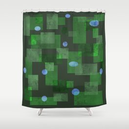 Green Squares and Circles Shower Curtain