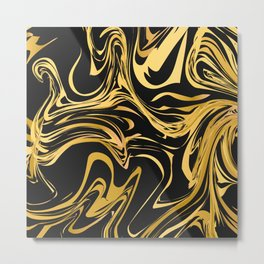 Black and gold marble texture Metal Print