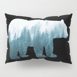 Misty Forest Bear - Turqoise Pillow Sham