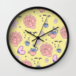 Cute Pastel Pattern Wall Clock