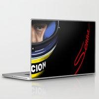 senna Laptop & iPad Skins featuring Senna Helmet Portrait by Borja Sanz