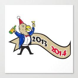 Happy New Year 2014 Turkey Toasting Wine Cartoon Canvas Print