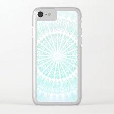 Turquoise Glittering Mandala Clear iPhone Case