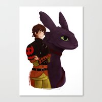 hiccup Canvas Prints featuring Hiccup and Toothless by tsunami-sand
