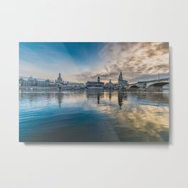Sunset on Elbe Metal Print