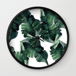 Banana Leaves Pattern Green Wall Clock