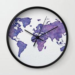 Purple World Map 02 Wall Clock