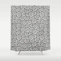 arya stark Shower Curtains featuring Stark Circles by SonyaDeHart