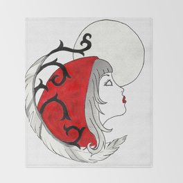 Red Moon Throw Blanket