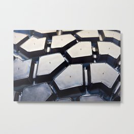 Black rubber tire for tractors and excavator Metal Print